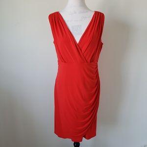 Alfani Red Sleeveless V Neck Dress Women's 12